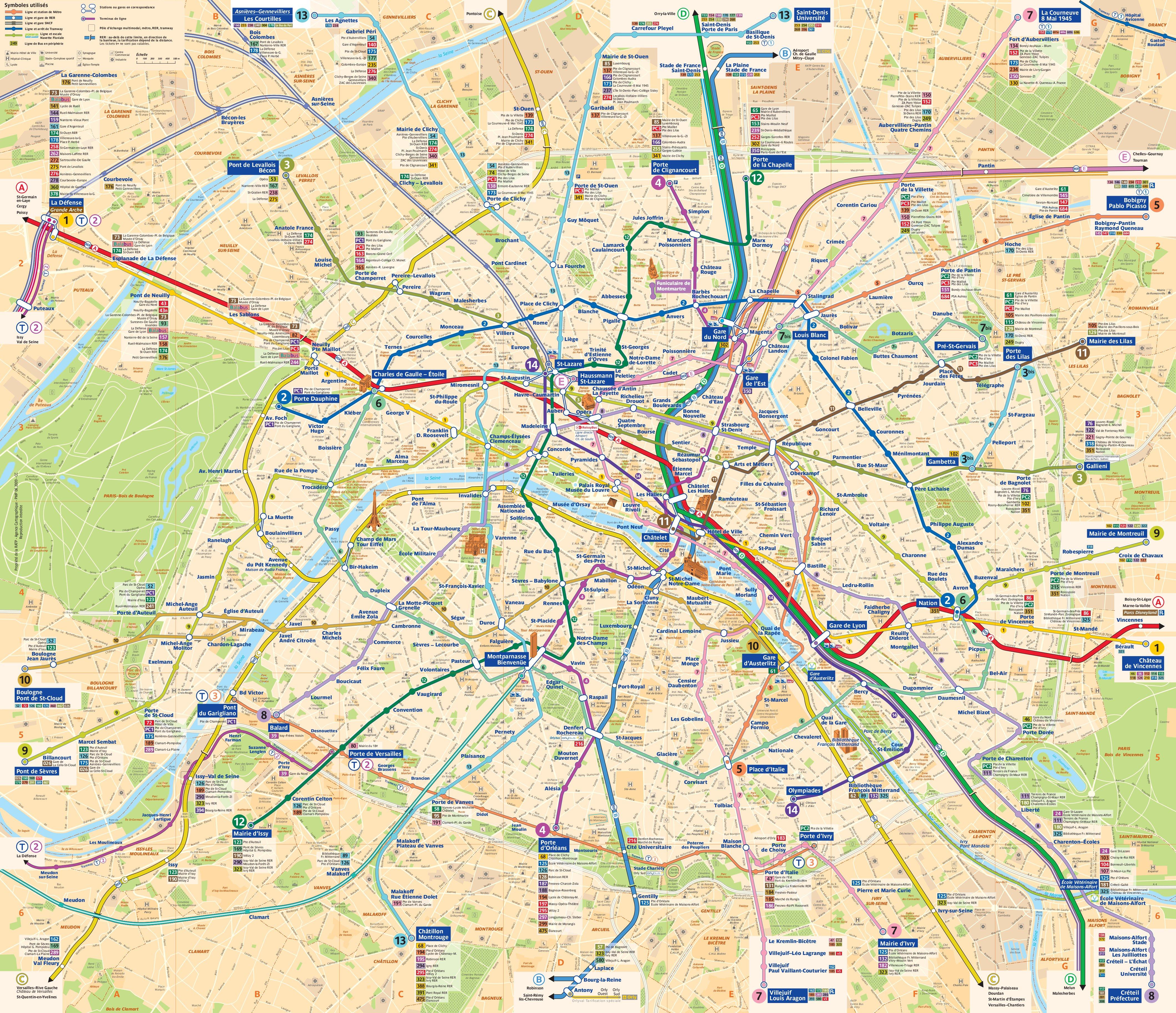carte plan métro paris