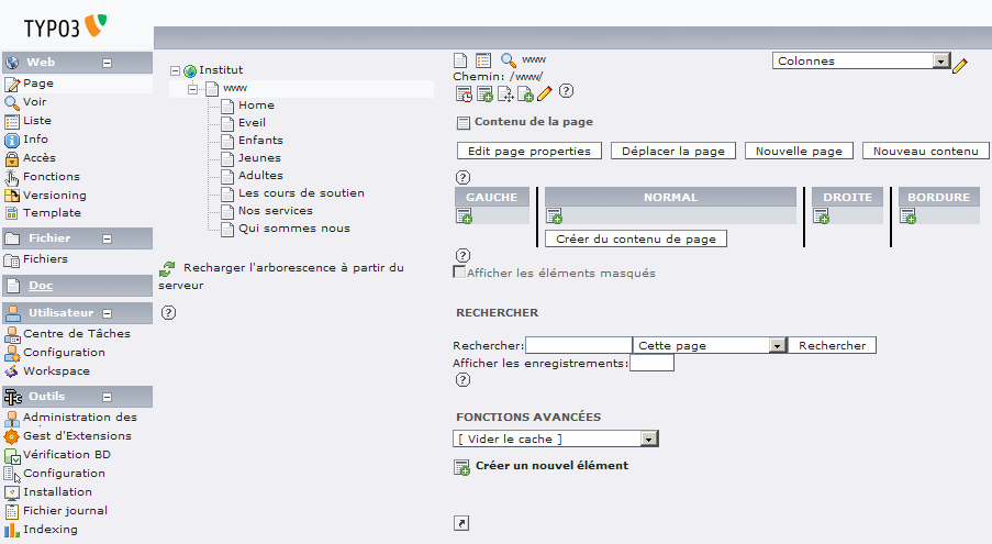 Interface d'administration de Typo3